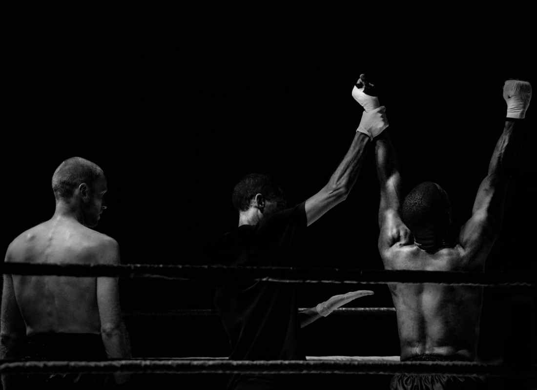 black and white sport fight boxer